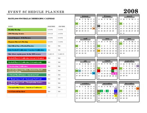 event planning calendar template best photos of sle event schedule event schedule