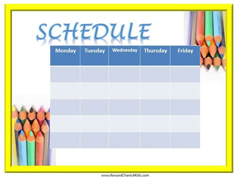 Free Printable Class Schedule Template by Weekly Schedule Template