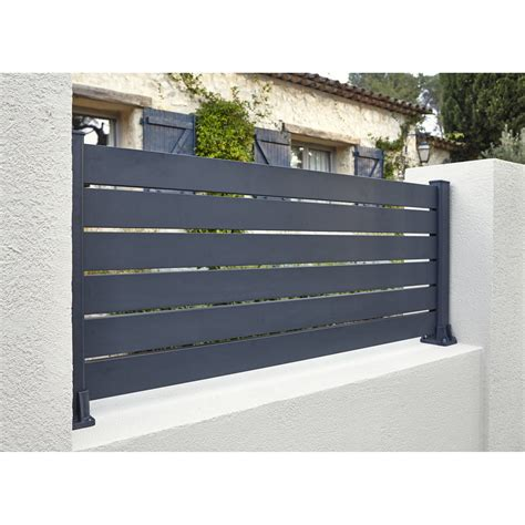 Exceptionnel Salon De Jardin Aluminium Leroy Merlin #1: lisse-de-cloture-aluminium-klosup-naterial-gris-zingue-h-145-x-l-9-cm.jpg