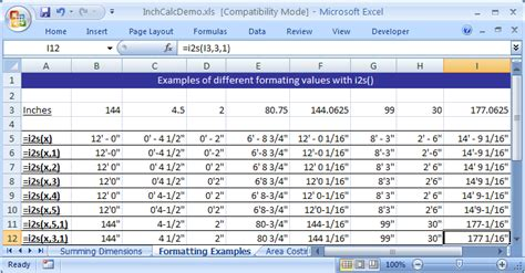 format excel for feet and inches inchcalc add in for excel