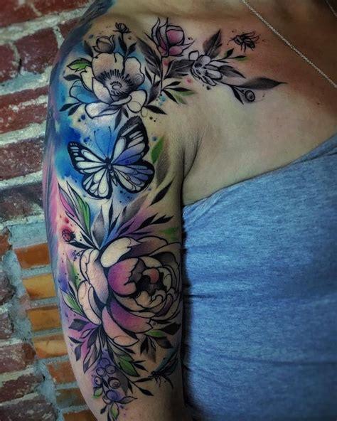 watercolor tattoo full sleeve best 25 half sleeve tattoos ideas on