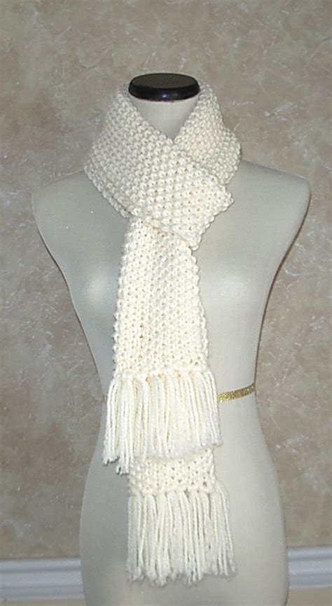 knitted white scarf knit scarves knit scarf handmade scarf