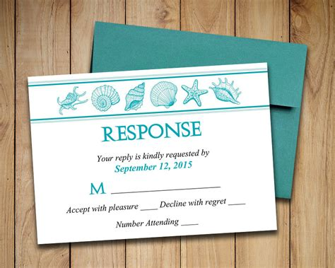 free printable wedding invitations and rsvp cards beach wedding rsvp template seashell response card