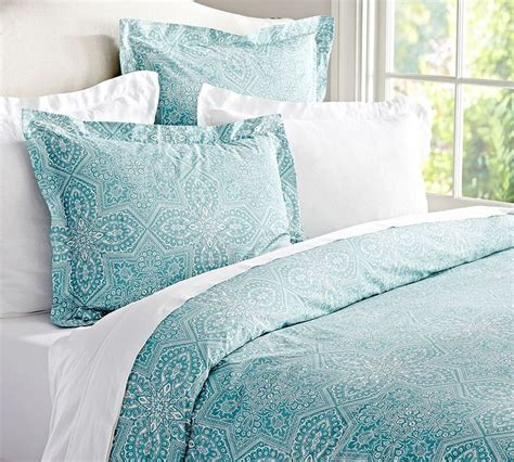 Aqua Blue Bedding by Farrah Medallion Organic Duvet Cover Sham Aqua Blue