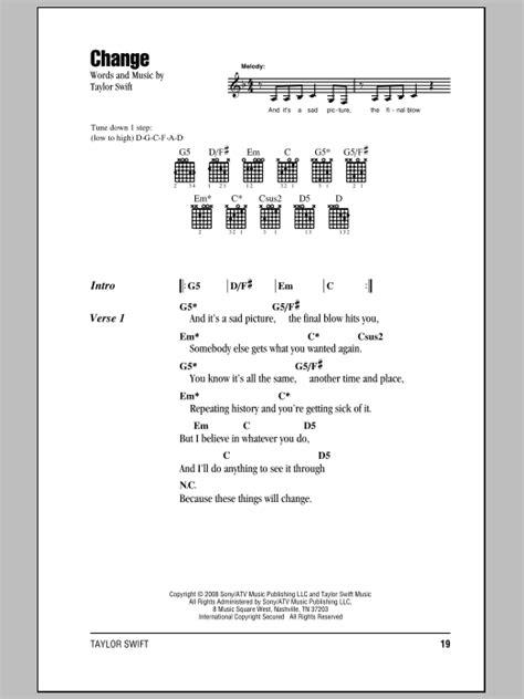 change taylor swift guitar tabs change sheet music taylor swift lyrics chords