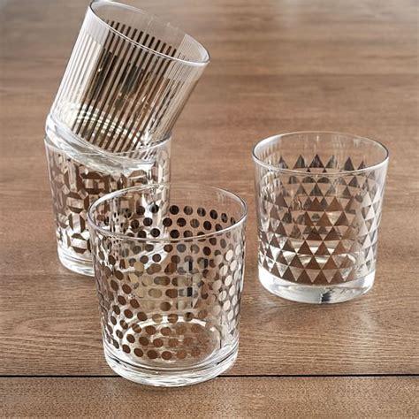best barware set metallic print glassware set of 4 west elm