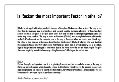 Racism In Othello Essay by Othello Is Racism The Most Important Factor Gcse Marked By Teachers
