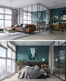 glass wall design for living room black framed glass walls separate the bedroom in this kiev apartment contemporist