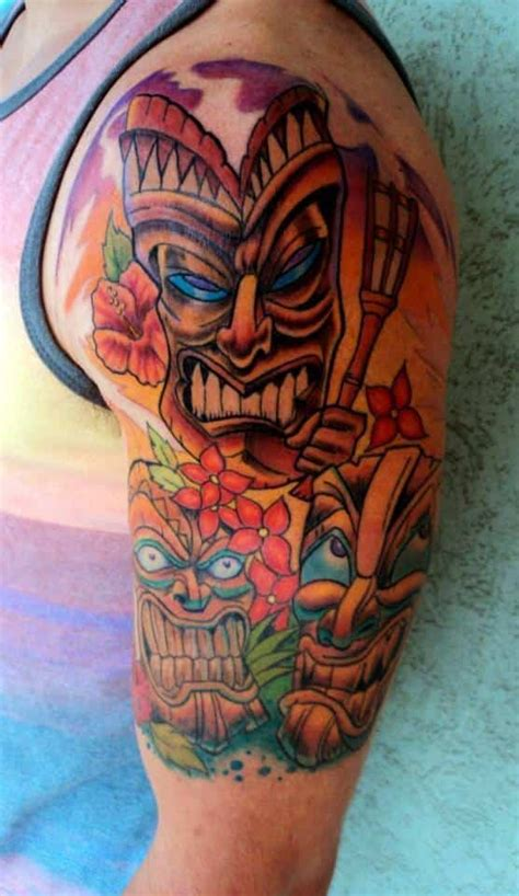 sacred tiki tattoo 14 hawaiian sleeve designs hibiscus flower