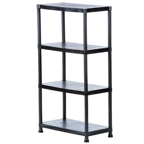 Shelf Storage by Hdx 4 Shelf 15 In D X 28 In W X 52 In H Black Plastic
