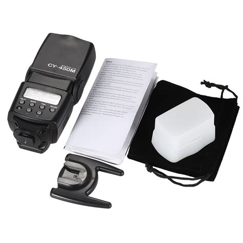 Flash Kamera Canon Dslr yinyan flash kamera zoom speedlite 5600k untuk dslr canon nikon cy 450m black