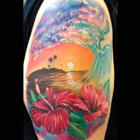 beach scene tattoo hawaiian tattoos