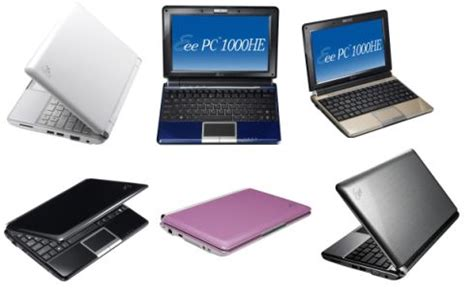 color eee the 6 colors of the asus eee pc 1000he liliputing