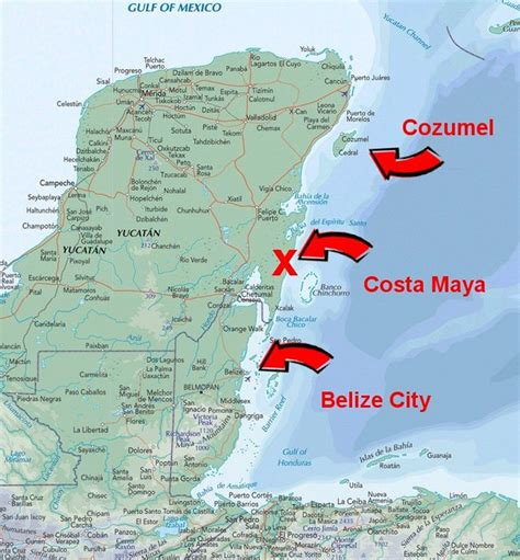 map of mexico and belize belize and cozumel
