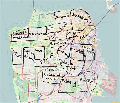 san francisco map crime most frequented crimes in san francisco normalized by