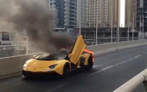 Lamborghini Burning Lamborghini Aventador 50th Anniversario Burns To Ashes In