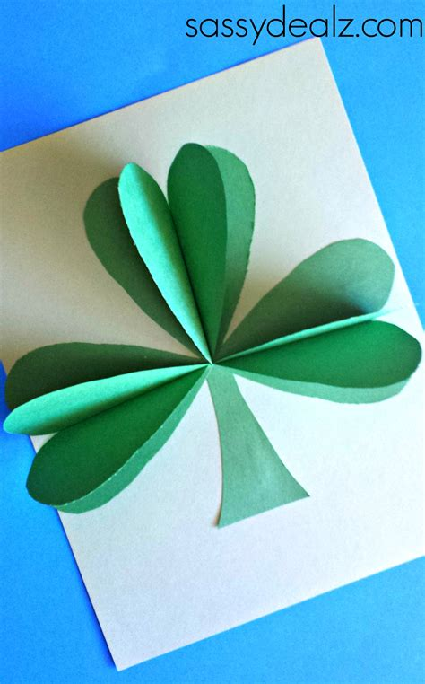 3d Crafts With Paper - 3d paper shamrock craft for st s day crafty morning