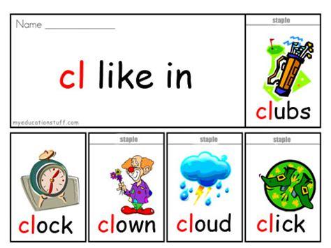 cl list initial blend phonics flip book cl sound