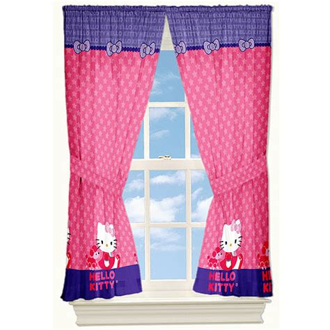 Hello Kitty Microfiber Star Kitty Curtain Panels Set Of 2