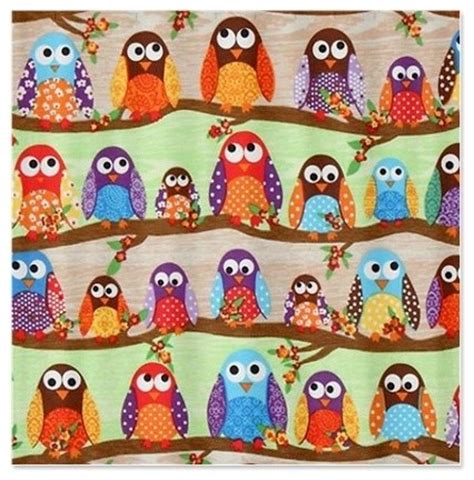 funky curtain material funky owls shower curtain by fabric shower curtain
