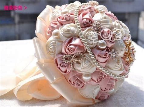 Handmade Wedding Bouquets - handmade ivory satin silk brooch flower