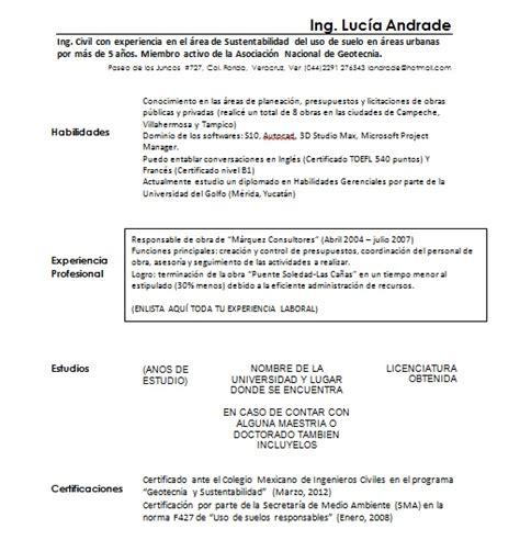 Modelo Curriculum Ingeniero Civil Curriculum Vitae Ingeniero Civil Gt Ejemplos Y Formatos Mil Formatos