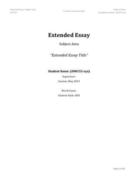 Ib Biology Extended Essay by Extended Definition Essay Exles
