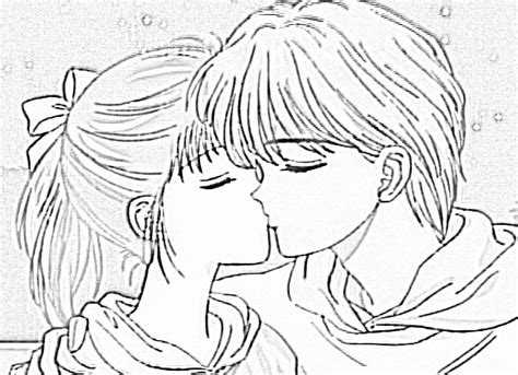 cute kiss colouring pages