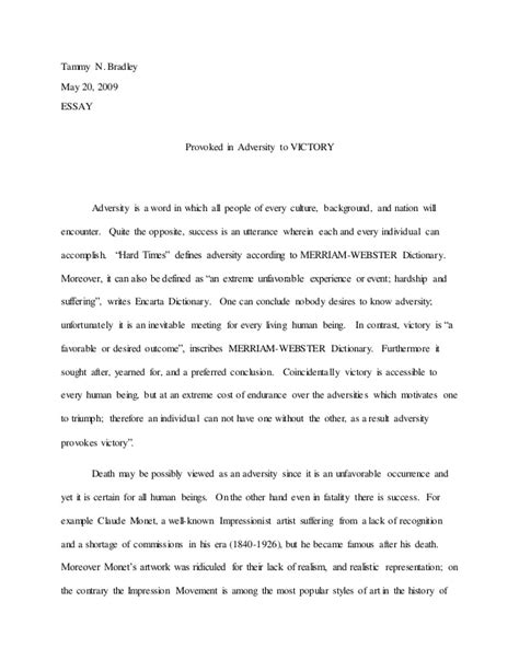 Adversities In Essay by Motivated By Adversity To Success Essay