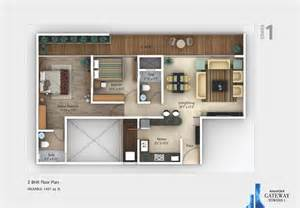 2 Bhk Plan by 4 Bhk Flats In Pune Amanora Gateway Towers Floor Plan