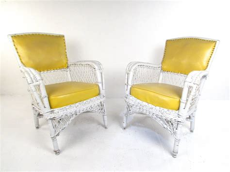 vinyl wicker patio furniture set of six vintage wicker and vinyl chairs mid century