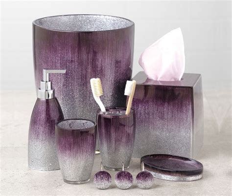elegant sophisticated purple bathroom accessories