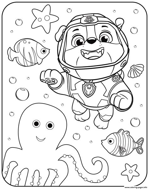 free paw patrol coloring pages paw patrol rubble underwater coloring pages printable