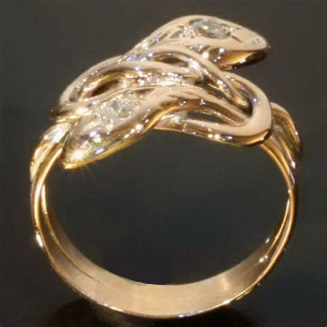 Two Headed Snake Ring by Gold Two Headed Snake Ring With Mine Cut