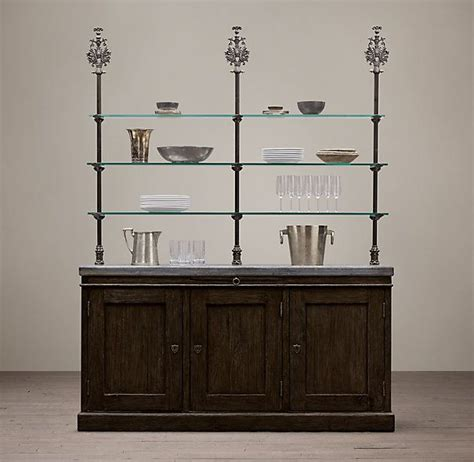 19th c finial sideboard hutch natural or brown finish