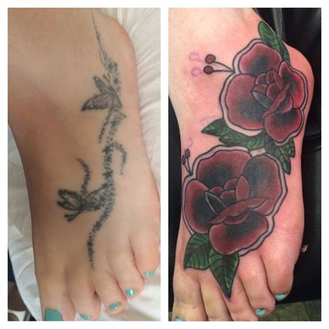 before and after traditional rose cover up tattoo on foot