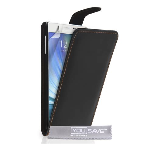 Leather Galaxy A7 yousave samsung galaxy a7 leather effect flip black