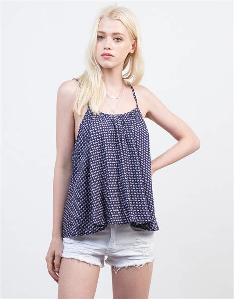 printed camisole top flowy printed cami top blue printed cami tank matching