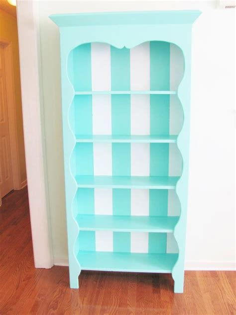 painted bookcase striped turquoise and white