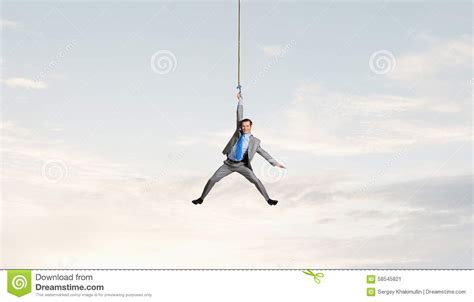hang picture man hang on rope stock image image of fall problem