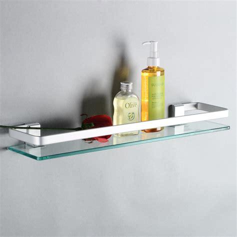 Wall Mounted Bathroom Glass Shelves Space Aluminum Bathroom Shelves Single Tier Glass Shelf