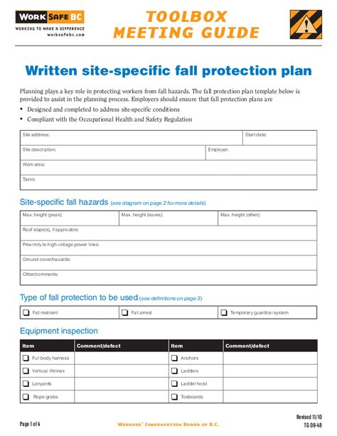 Worksafebc Fall Protection Plan Template