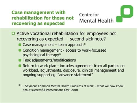 section 8 mental health managing mental health work preventing disability