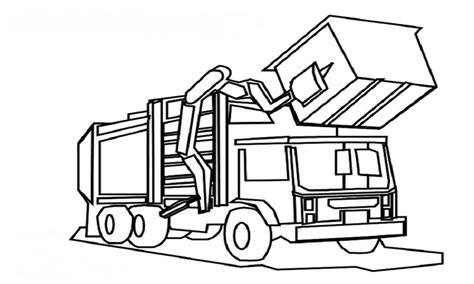 Coloring Page Garbage Truck by Trash Coloring Pages Truck Grig3 Org