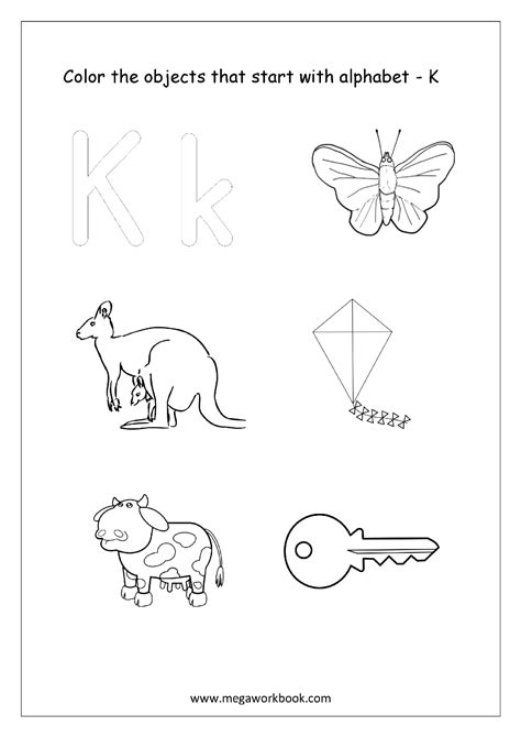what color starts with k free worksheets alphabet picture coloring
