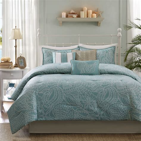 coastal bedding set beautiful reversible blue grey ocean beach coastal