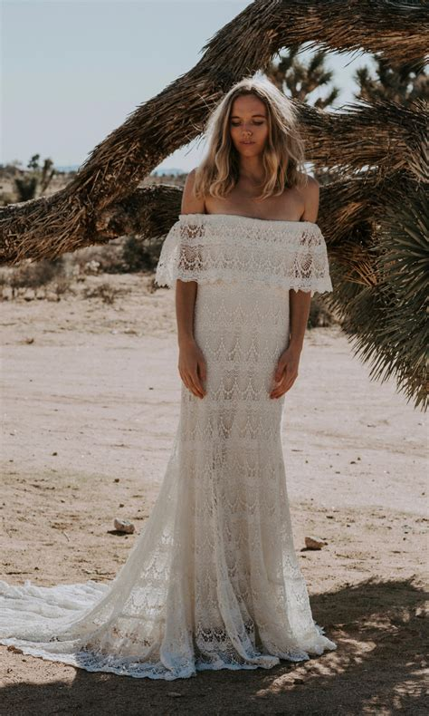 Shoulder Lace Wedding Dress 1970s inspired crochet lace the shoulder wedding dress