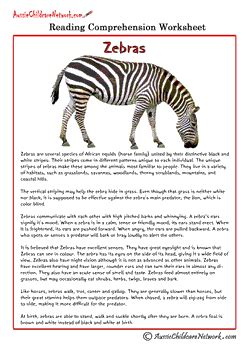 comprehension sheets on animals aussie childcare network