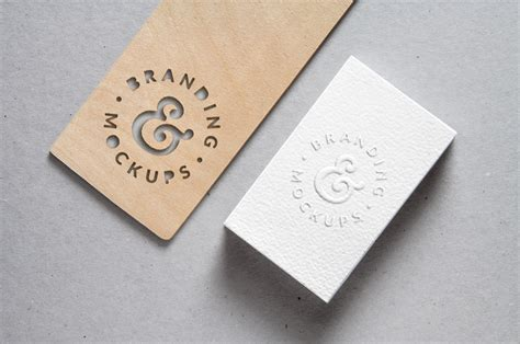 cutout wood embossed  card mockup graphicburger