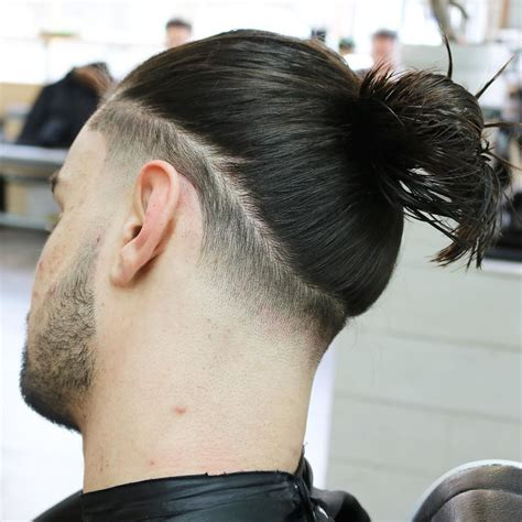 long hair with low fade 21 man bun styles